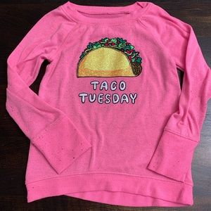 Justice Taco Tuesday Pink Sweater 🌮